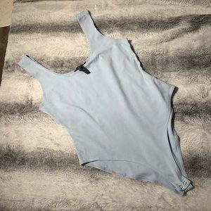 Baby Blue Ribbed Sleeveless Bodysuit